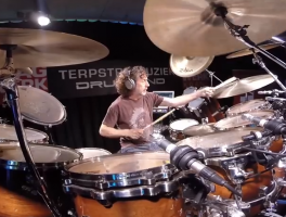 "A good view of Simon Phillips playing ""open handed"" at a drum clinic."
