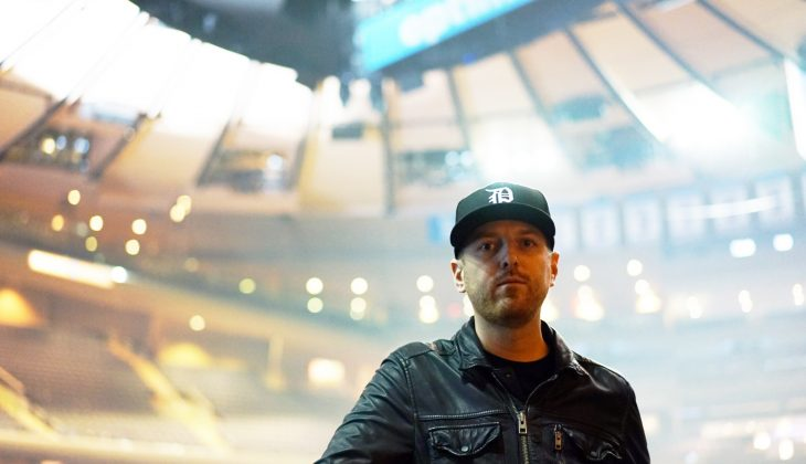 Chris onstage at Madison Square Garden before PHANTOGRAM's show, March, 2015