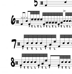"Drum Lesson with 8 32nd note variations on ""RLRLF"""