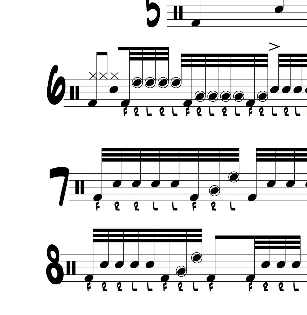 Drum Lesson with 8 32nd note variations on