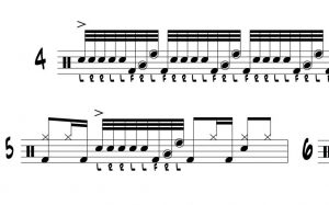 This drum lick might remind you of Steve Gadd's ratamacue lick. It sounds great and here is the rhythmic notation for you.